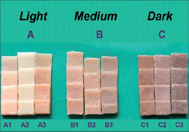 Figure 5: Wedge silicone sample matched for the medium skin tone