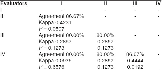 Table 5: Percentage of agreement and kappa values between the evaluators for light skin tone