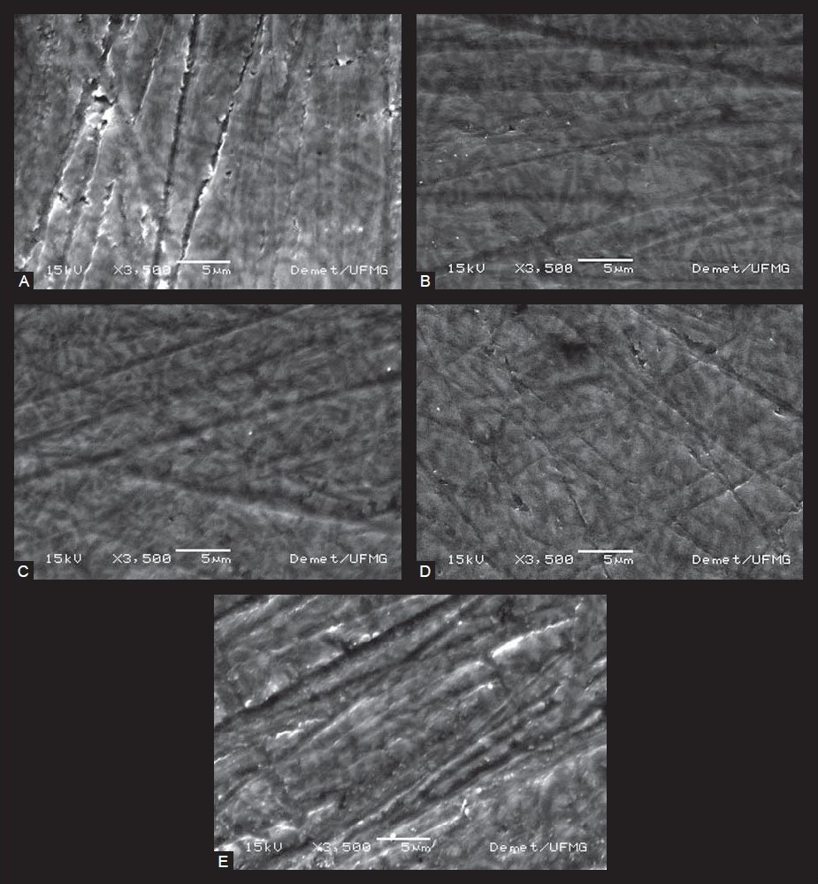 Figure 2 : Scanning electron microscopy images of (A) polished ceramic (no treatment group), (B) silane rinsed in current water and dried at room temperature (RT) (SRT), (C) silane rinsed in boiling water and dried at RT (SBRT), (D) silane rinsed in boiling water and dried at 50 ± 5°C (SBH) and (E) silane dried at 50 ± 5°C, rinsed in boiling water and dried at RT (SHBRT)
