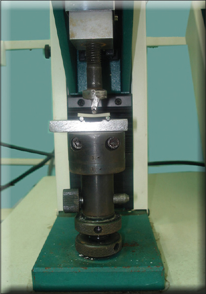 Figure 9: Universal testing machine used with testing jig
