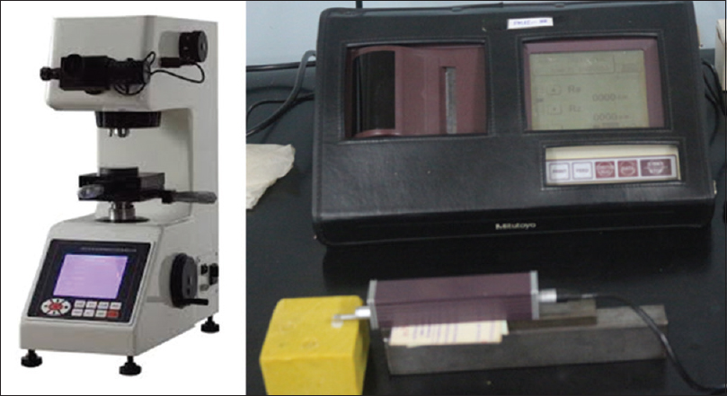 Figure 2: Armamentarium for recording surface hardness and roughness